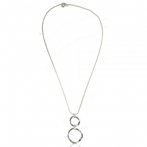 Double Circle Long Pendant Necklace